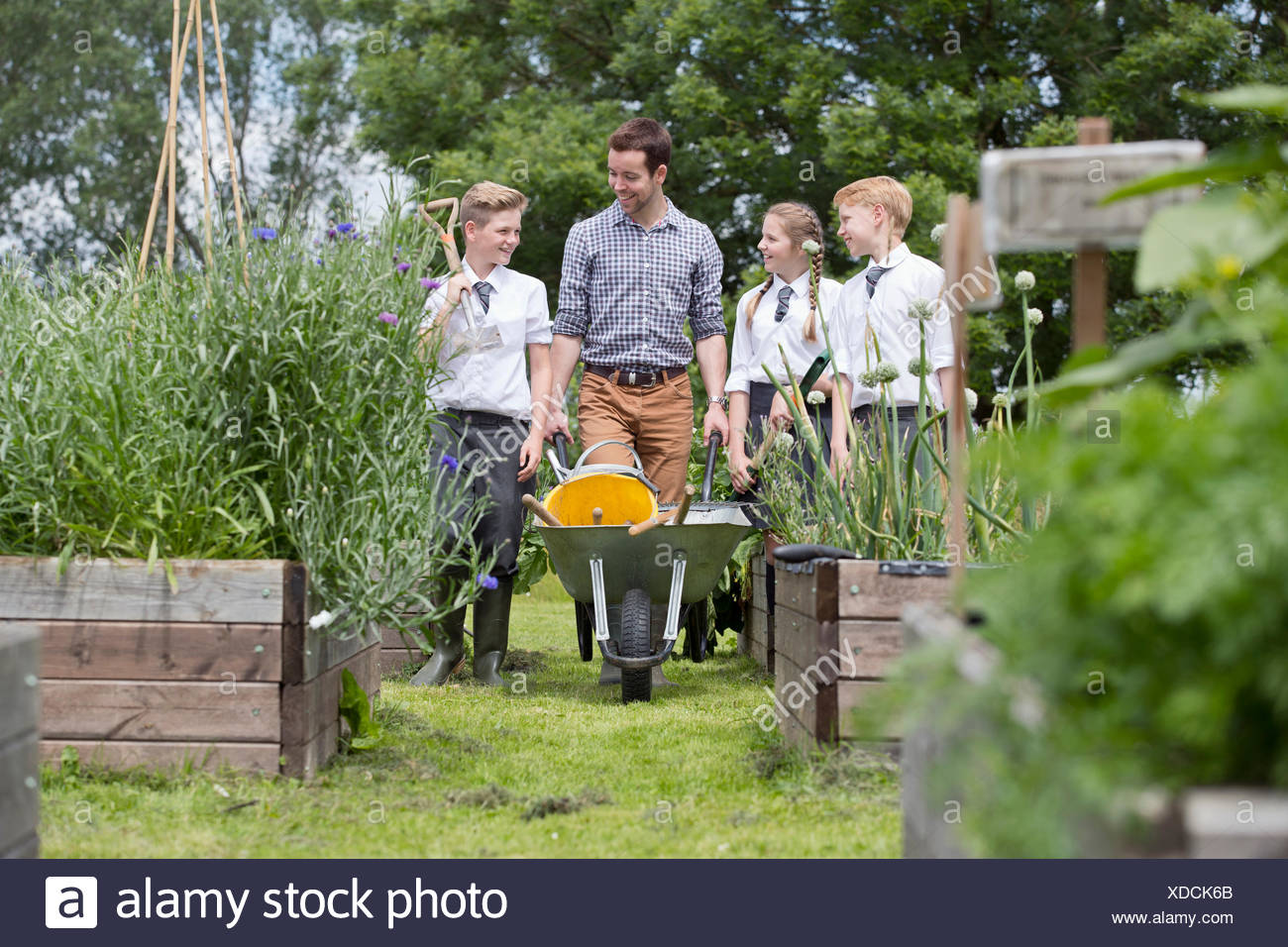 Teacher and middle school students with wheelbarrow learning gardening in vegetable garden - Stock Image