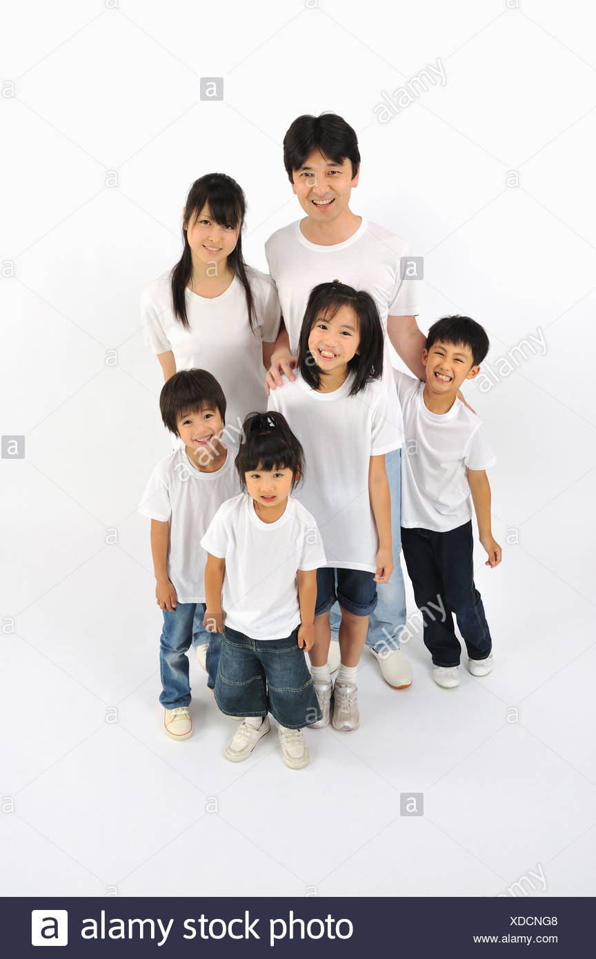 Six people in T-shirt and jeans - Stock Image
