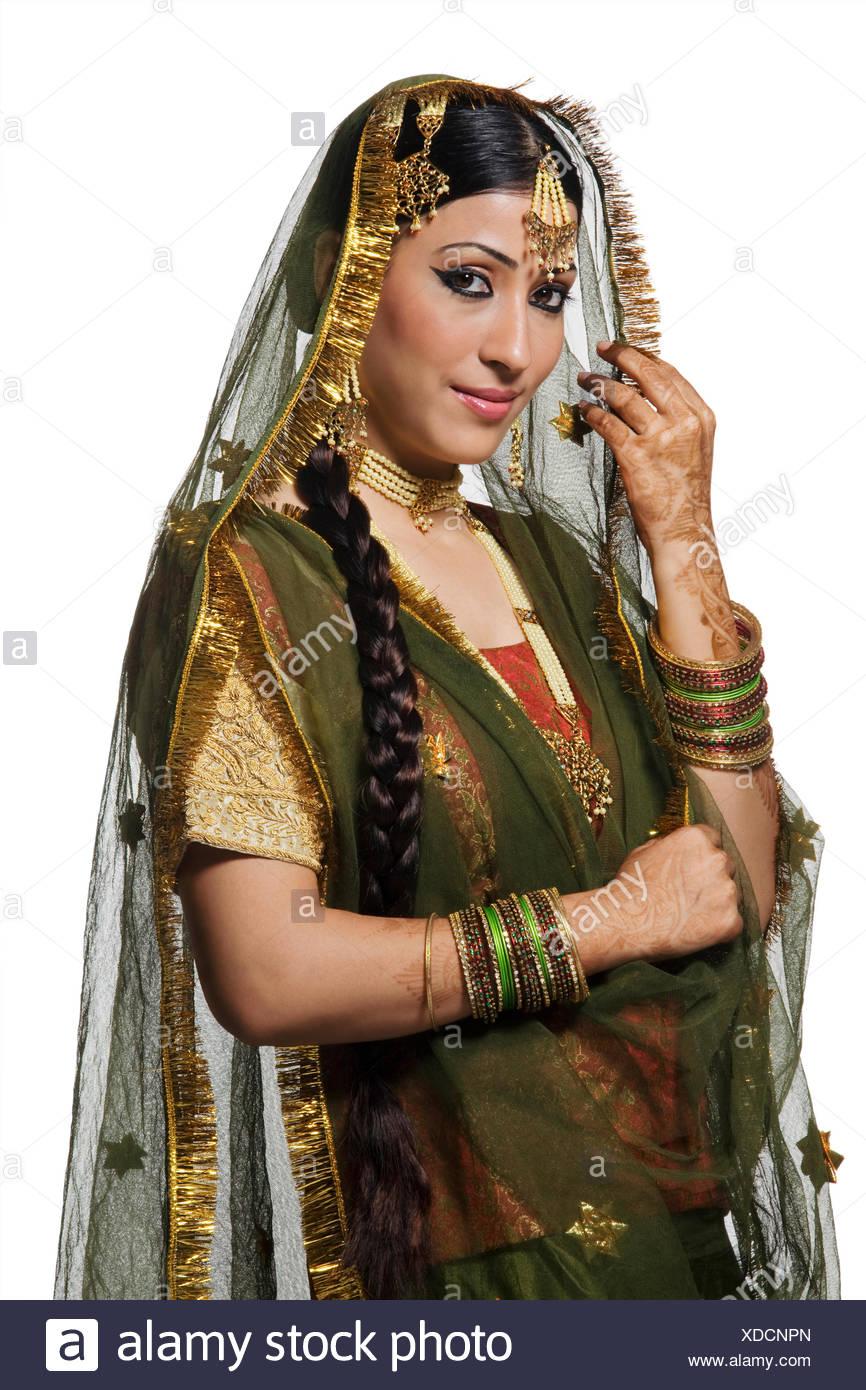 Portrait of a Muslim bride - Stock Image