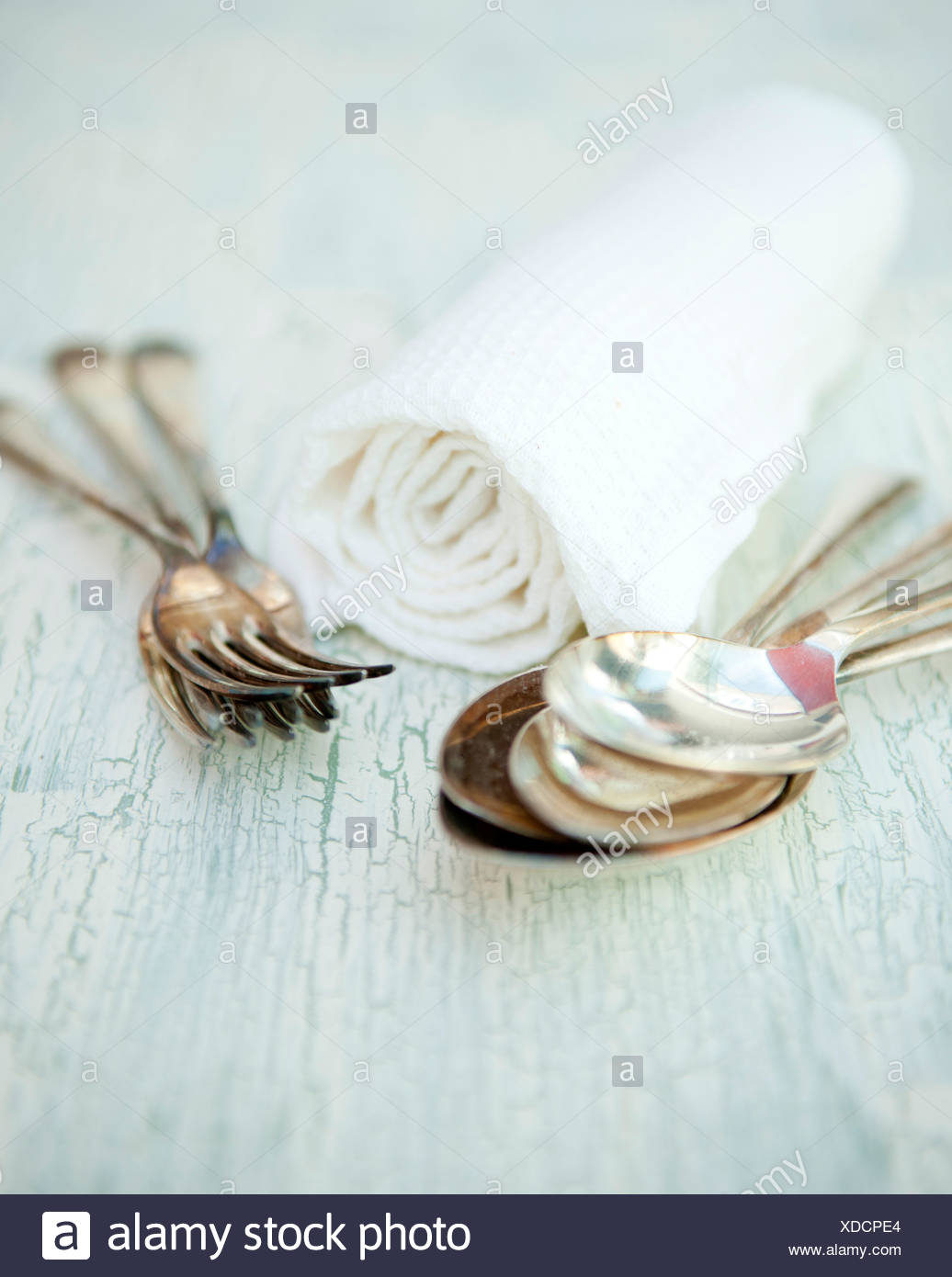 Cutlery and napkins - Stock Image