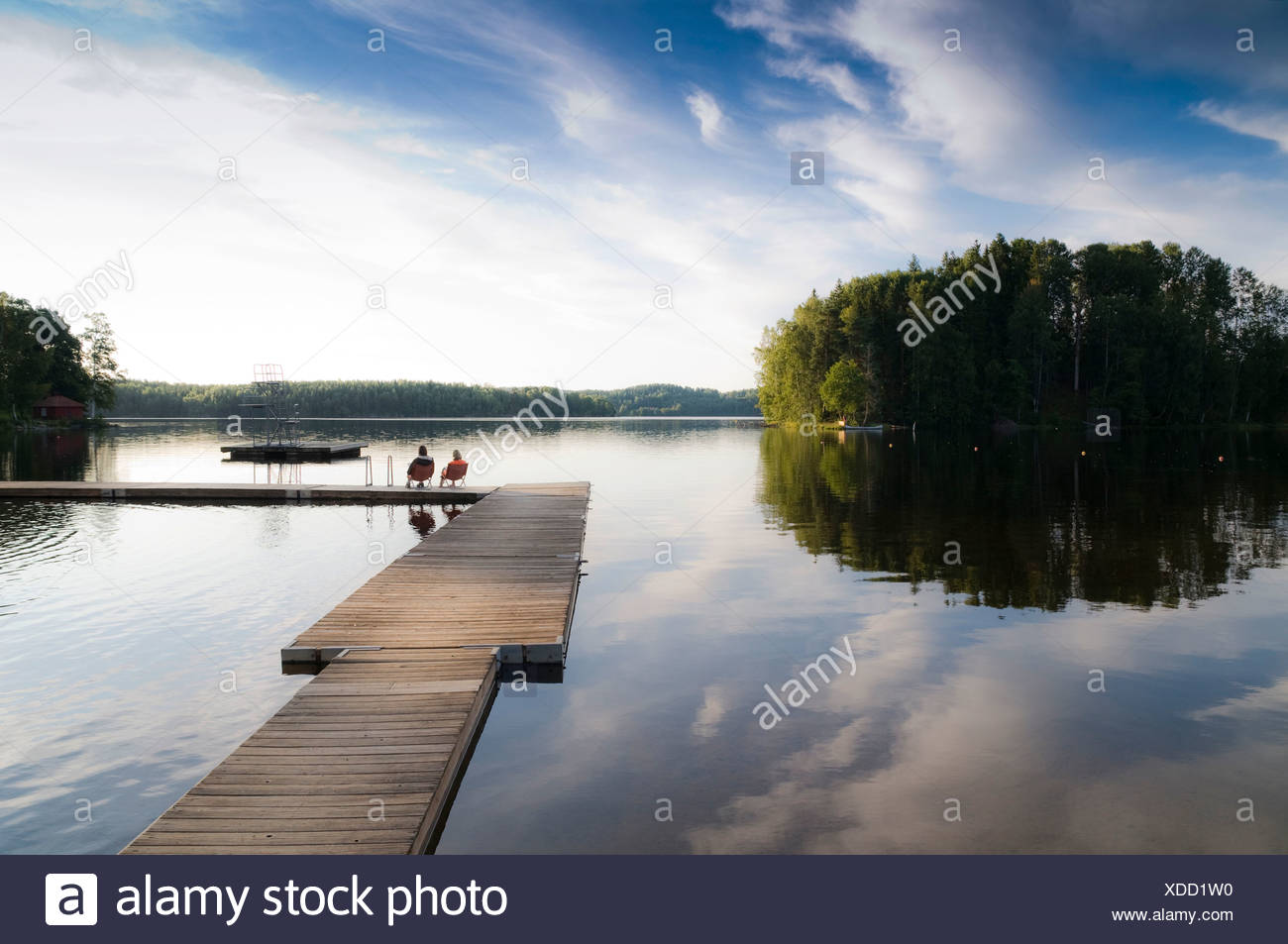 Lake in the southwest of Sweden, Scandinavia, Europe - Stock Image
