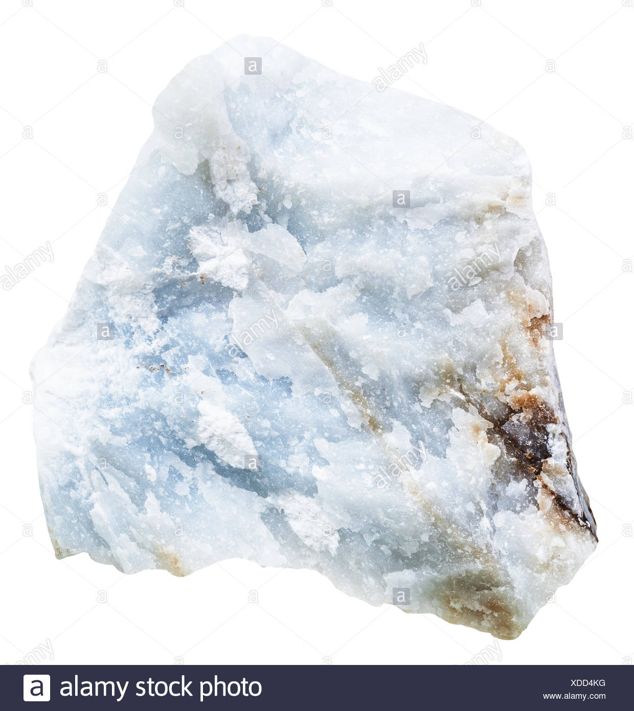 blue Anhydrite (Angelite) rock isolated - Stock Image