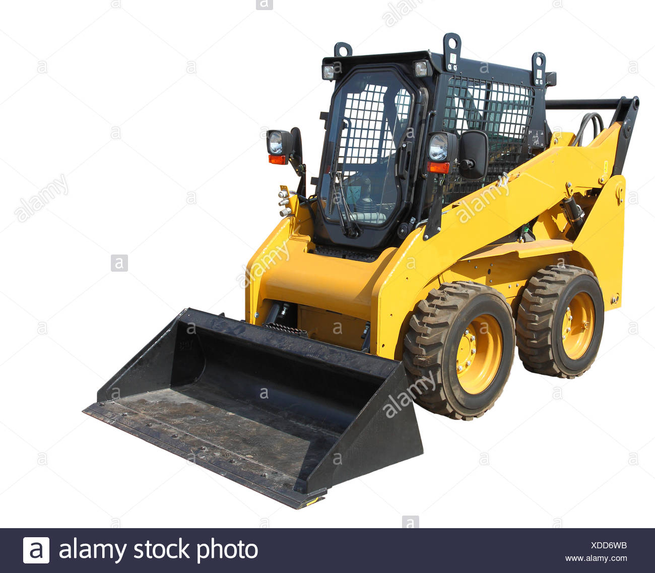 The yellow truck with a scraper to lift cargo. - Stock Image