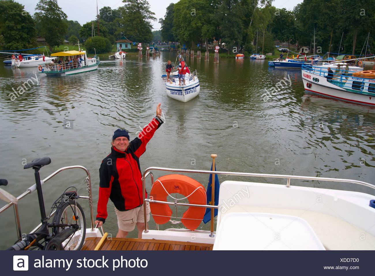 Guzianka Lock on Jez. Beldany (Lake Beldany), Mazurskie Pojezierze, Masuren, East Prussia, Poland, Europe Stock Photo