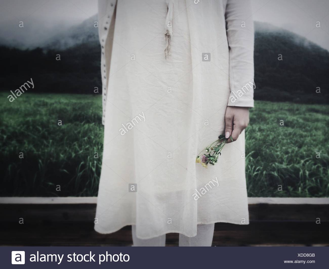 Close-Up Mid Section Of Woman Holding Flowers - Stock Image