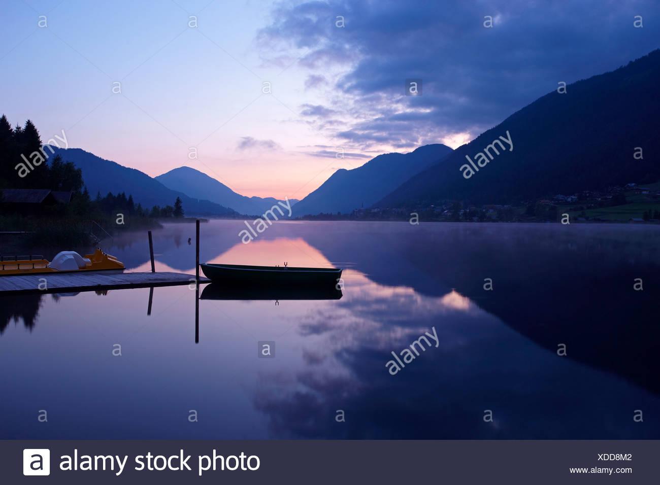 Morning mood at Weissensee Lake, Carinthia, Austria, Europe Stock Photo