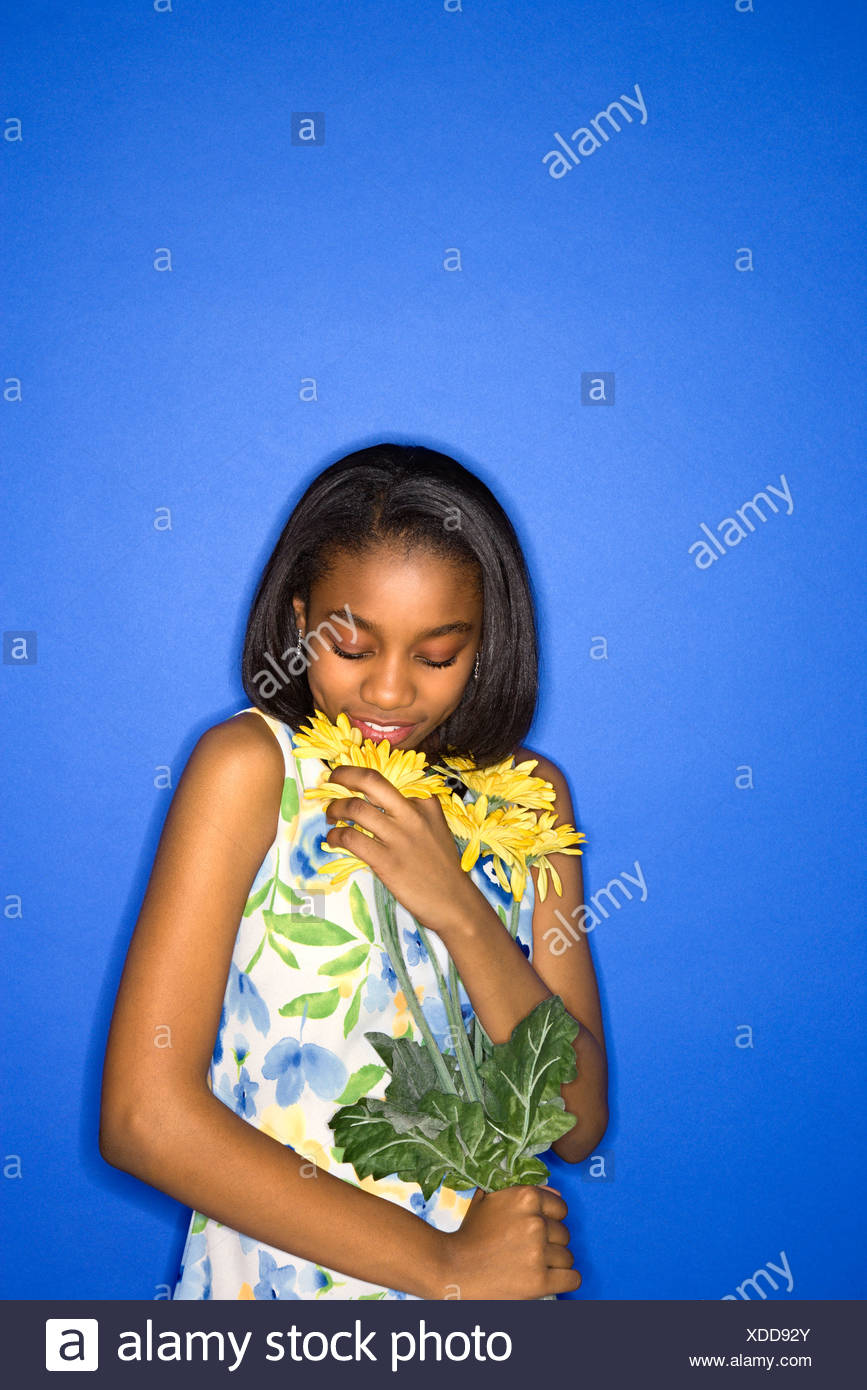 African american teen girl smelling #8