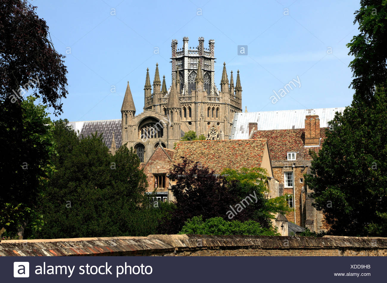 Ely Cathedral, The Octagon and Lantern Towers, Cambridgeshire, England UK, English medieval cathedrals precinct tower - Stock Image