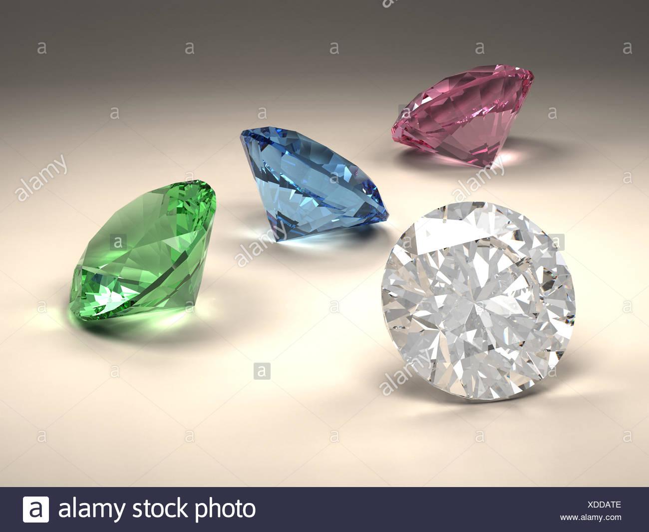 blue jewel diamond - Stock Image