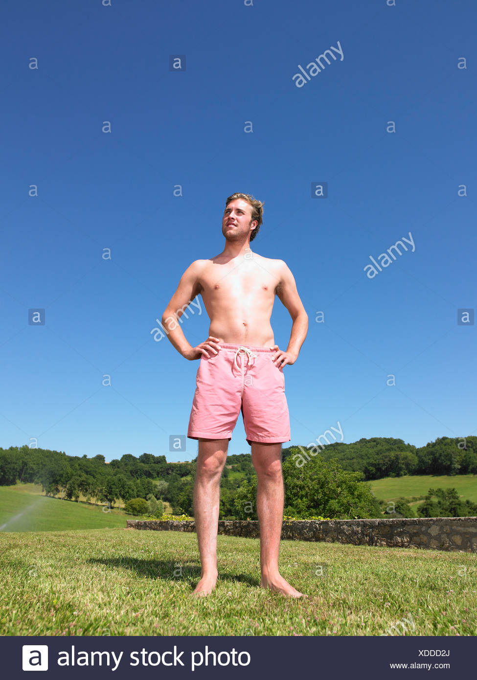 young man in bathing suit Stock Photo