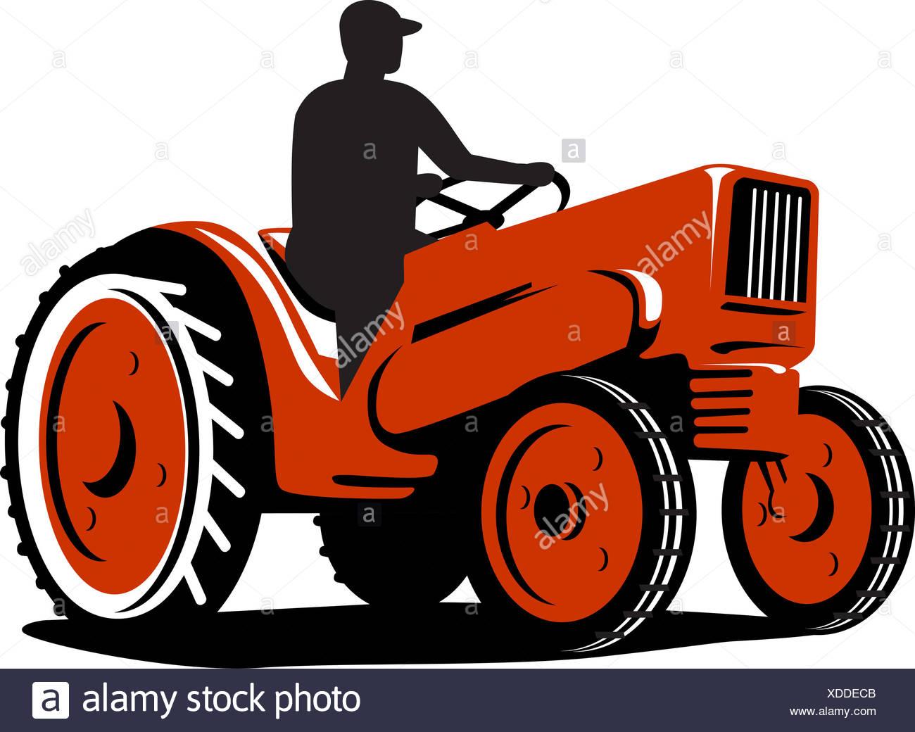 Farmer Driving Vintage Tractor Retro Stock Photos Farmer