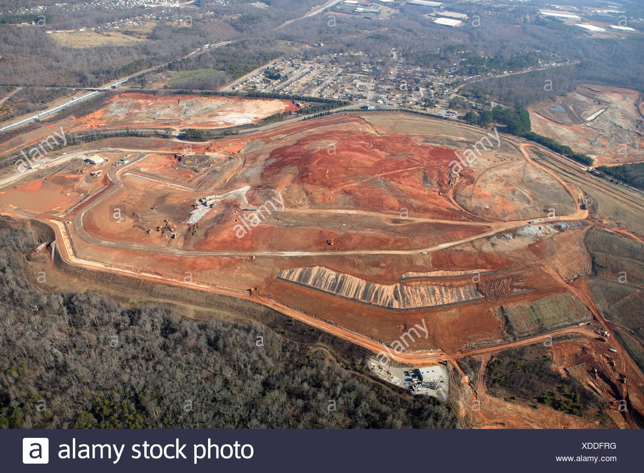 Aerial view of a solid waste landfill in Greenville, SC. - Stock Image