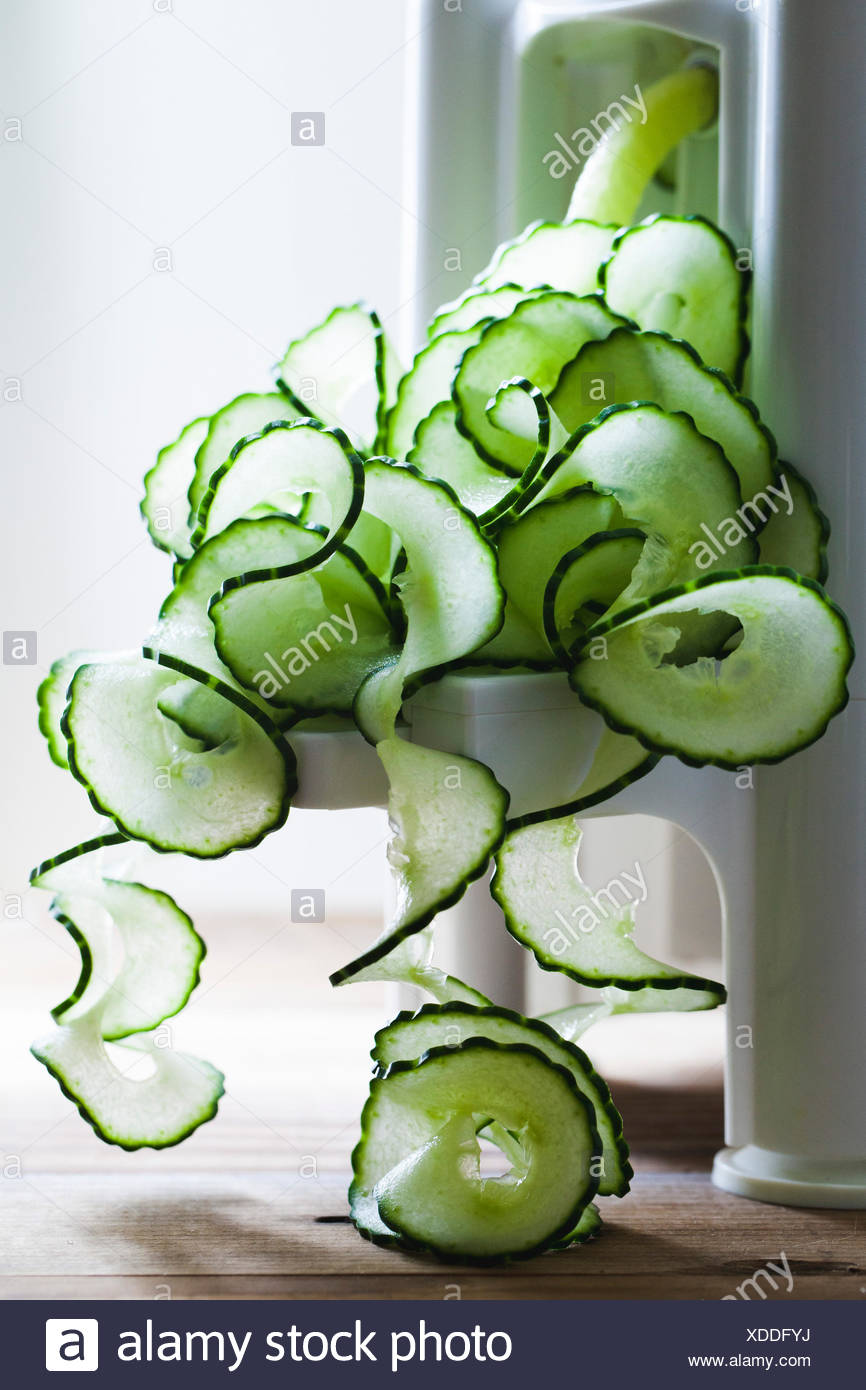 Spirals of cucumber - Stock Image