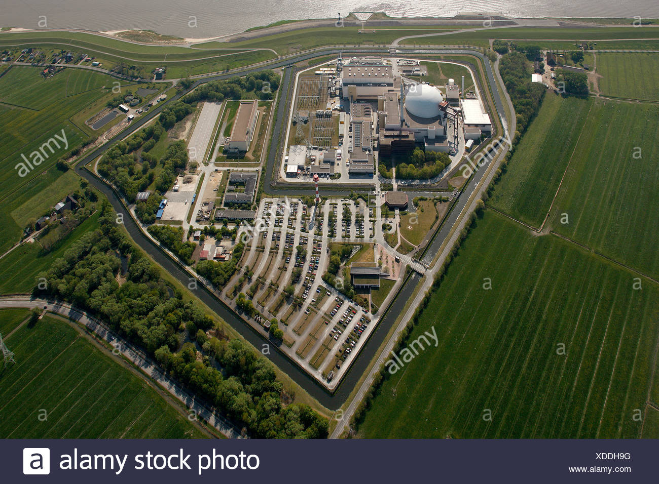 Aerial view, Brokdorf Nuclear Power Plant, Schleswig-Holstein, Germany, Europe - Stock Image