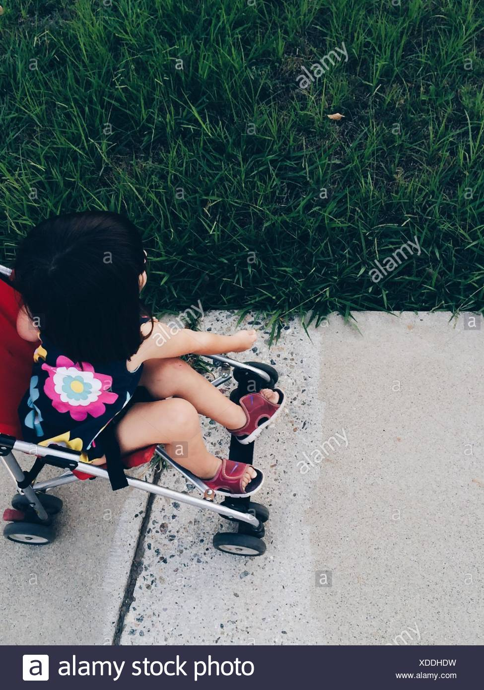 High Angle View Of Girl In Stroller At Park - Stock Image