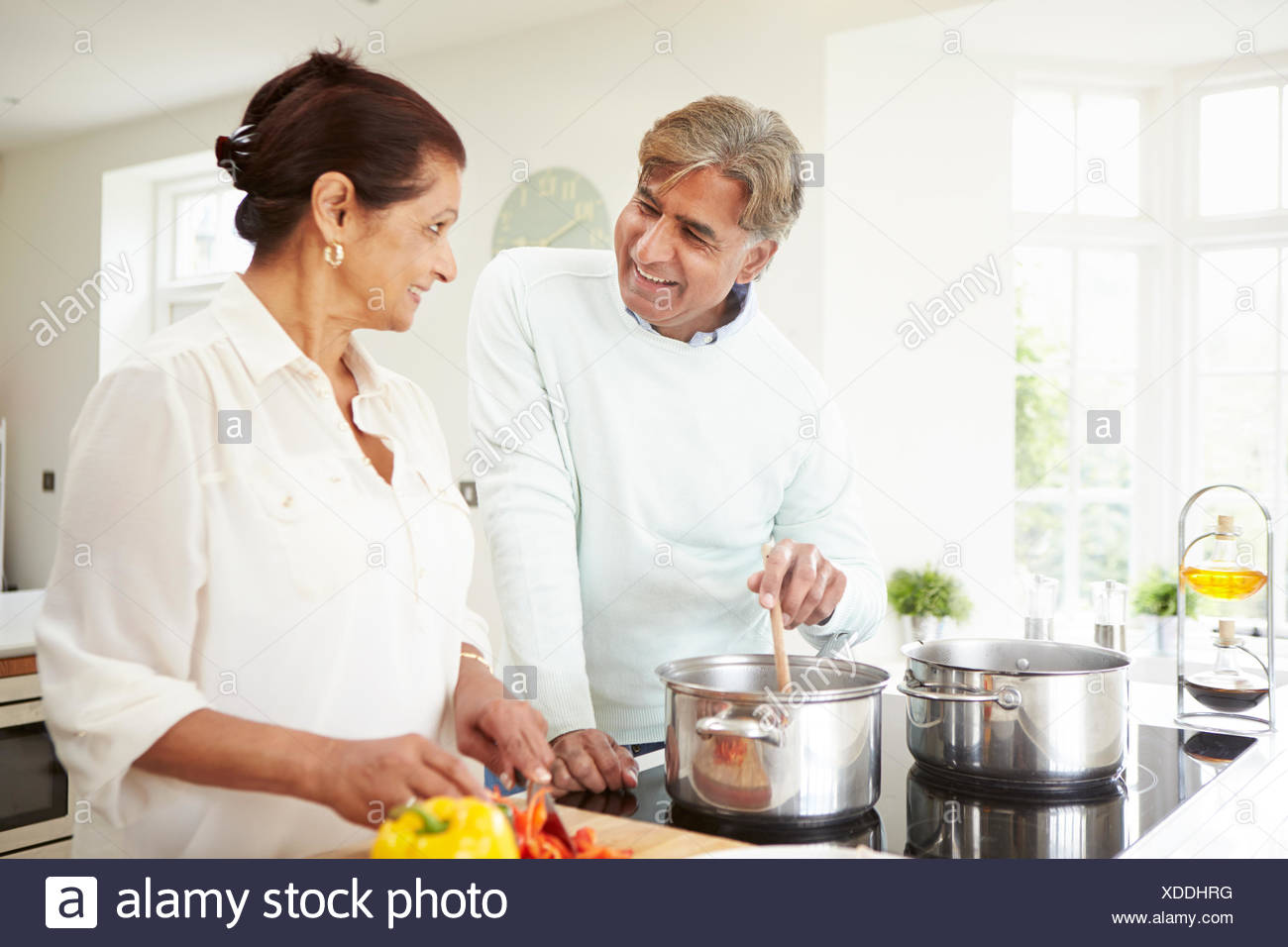 Senior Indian Couple Cooking Meal At Home Stock Photo 283655780 Alamy