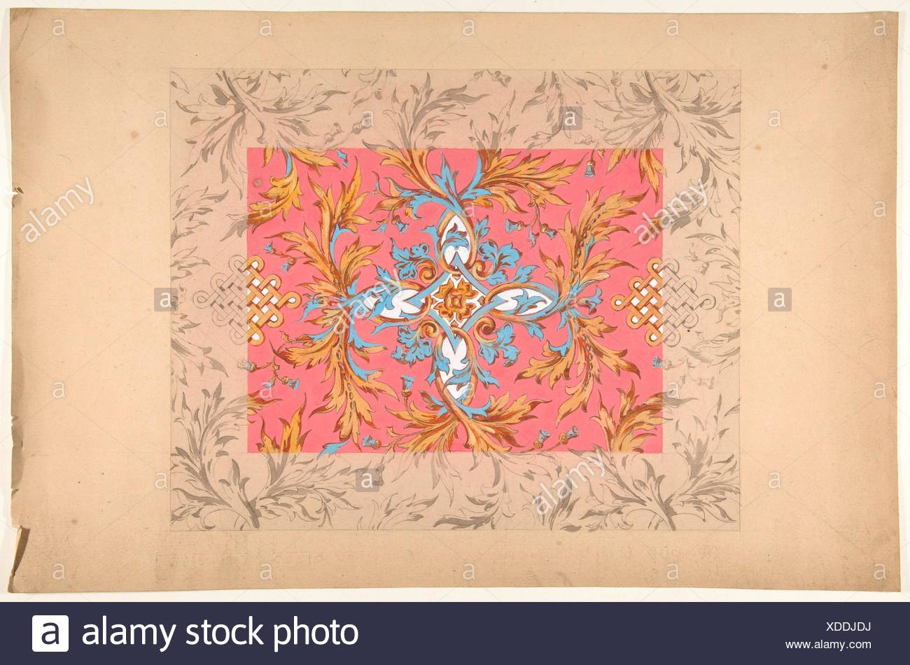 Design for a ceiling with floral design. Artist: Jules-Edmond-Charles Lachaise (French, died 1897); Artist: Eugène-Pierre Gourdet (French, born - Stock Image