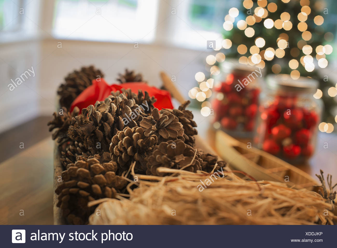 Woodstock New York USA Red glass balls pine cones Christmas decorations - Stock Image
