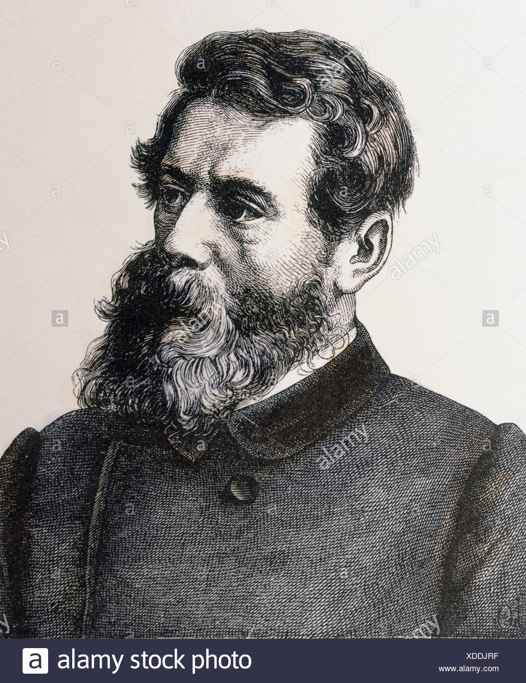 Feuerbach, Ludwig Andreas, 28.7.1804 - 13.9.1872, German philosopher, portrait, wood engraving by Hugo Buerkner, Dresden, 1854, private collection, , Additional-Rights-Clearances-NA - Stock Image
