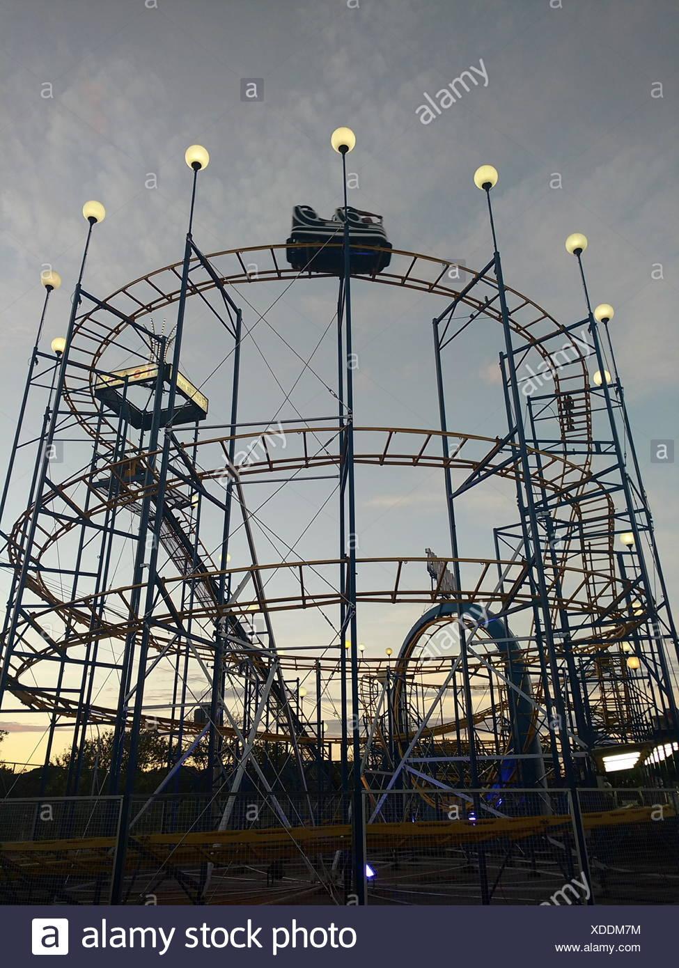 Amusement parks roller coaster Stock Photo