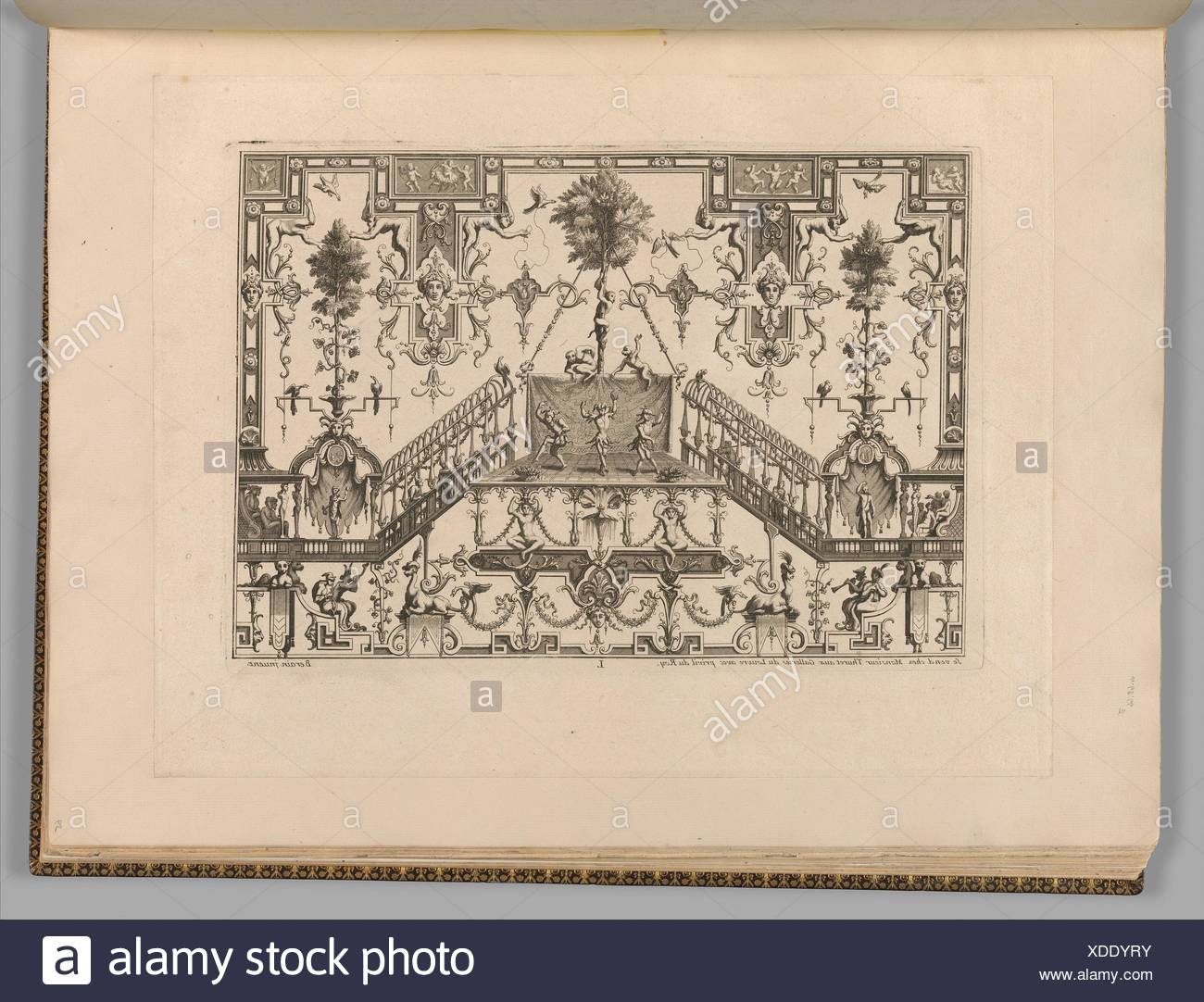 Ornament Designs Invented by J. Berain. Artist and publisher: Jean Berain (French, Saint-Mihiel 1640-1711 Paris); Dedicatee: Jules Hardouin Mansart - Stock Image