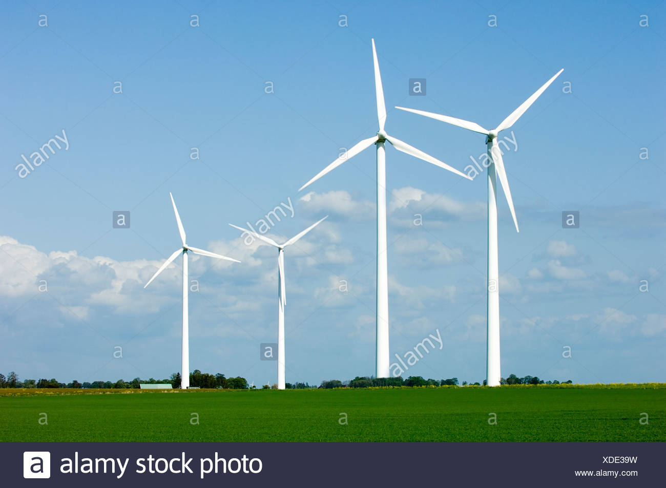 View of four wind turbines on a calm and peaceful landscape against blue sky - Stock Image