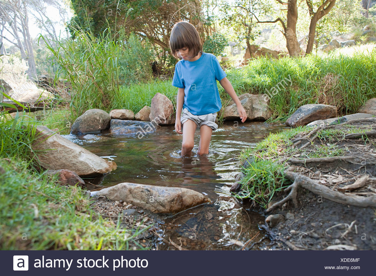 Boy in a river - Stock Image