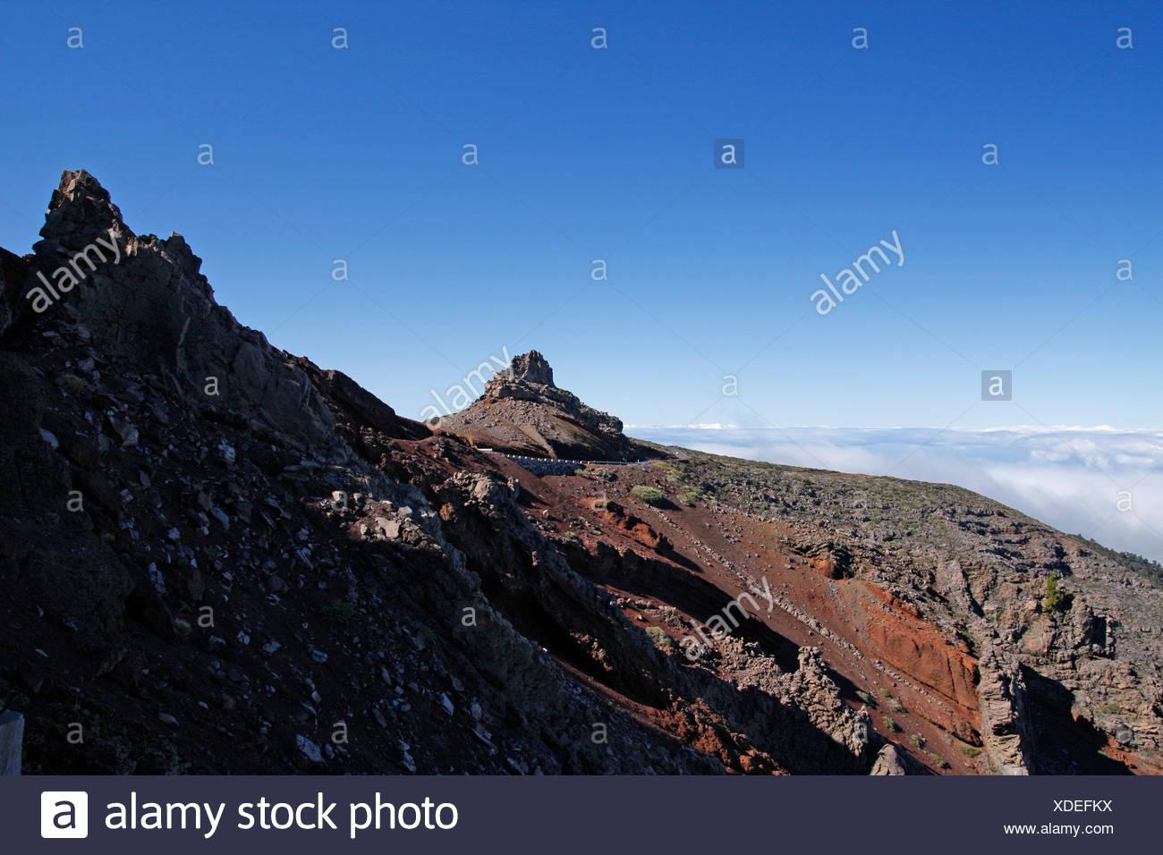 summit canary islands climax peak mountain isle island canaries blue stone Stock Photo