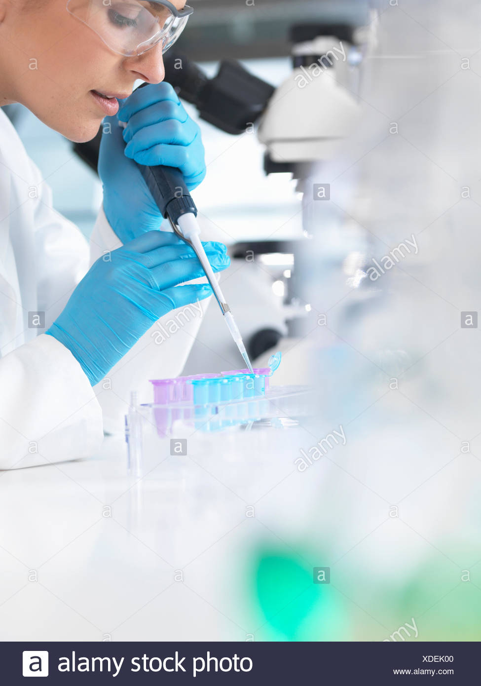 Female scientist pipetting sample into a vial for analytical testing in a laboratory Stock Photo