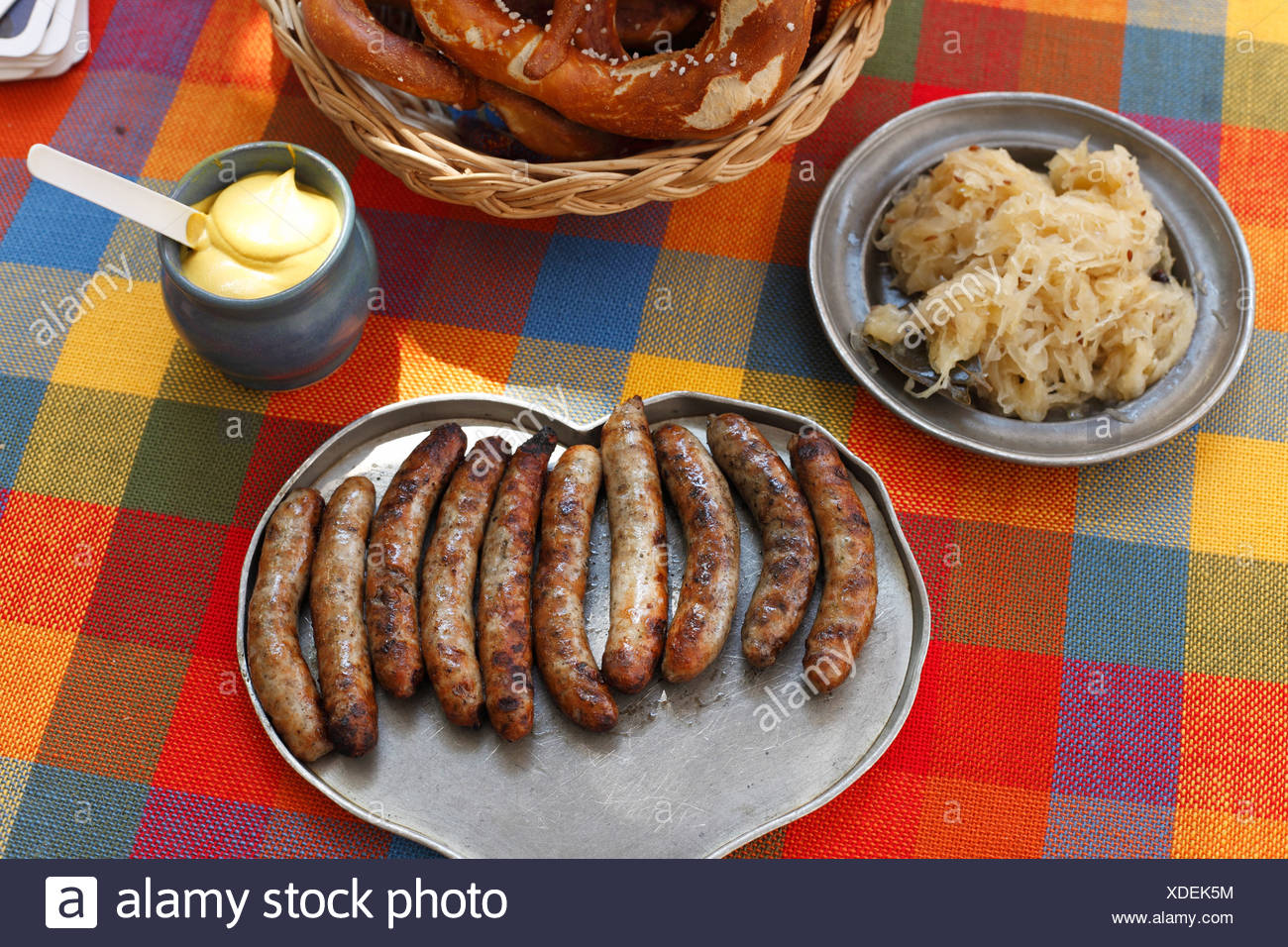Ten Nuremberg sausages, Bratwursthaeusle beer garden, Nuremberg, Middle Franconia, Franconia, Bavaria, Germany, Europe Stock Photo