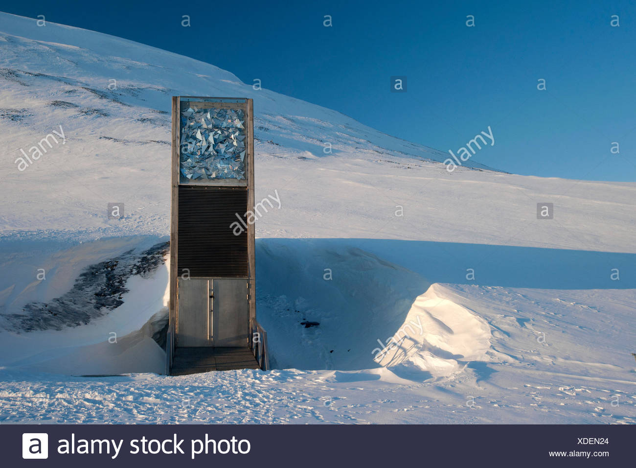 """The entrance to the """"Svalbard Global Seed Vault"""", Longyearbyen, Spitsbergen, Svalbard, Norway, Europe Stock Photo"""