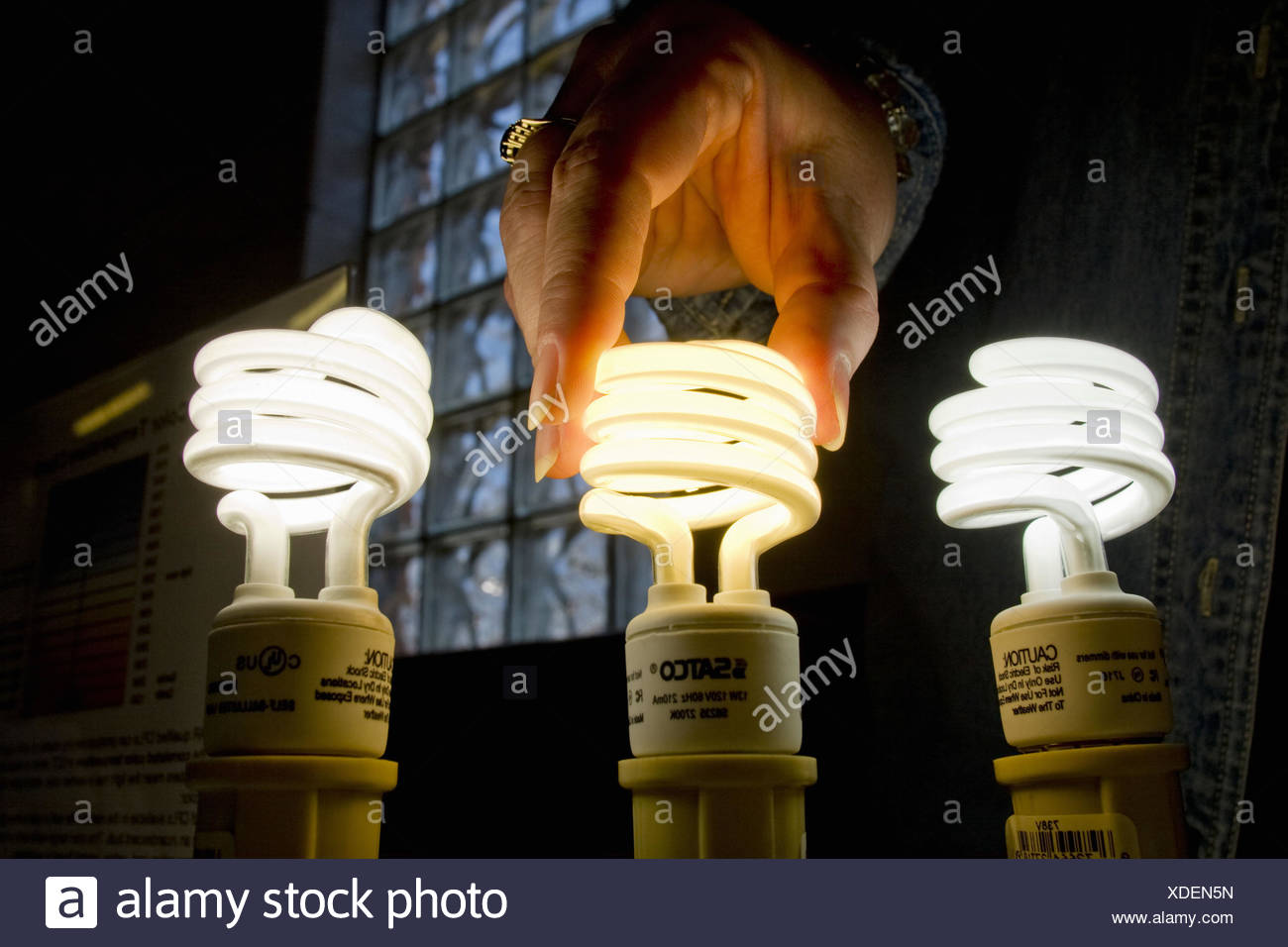 AmerenUE demonstrates the advantages of using compact flourescent light bulbs at an event in Overland Saturday. - Stock Image