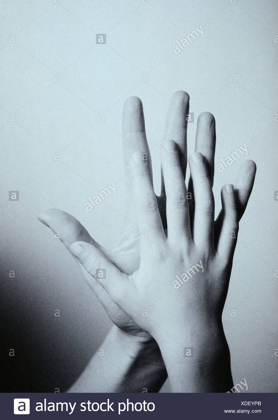 Child's hand touching man's hand, palm to palm, close-up - Stock Image