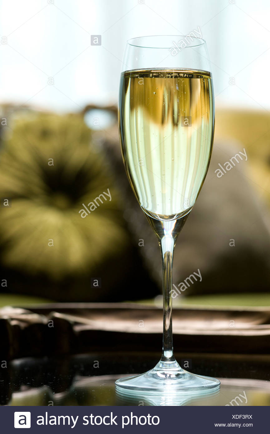 Close-up of a champagne flute - Stock Image