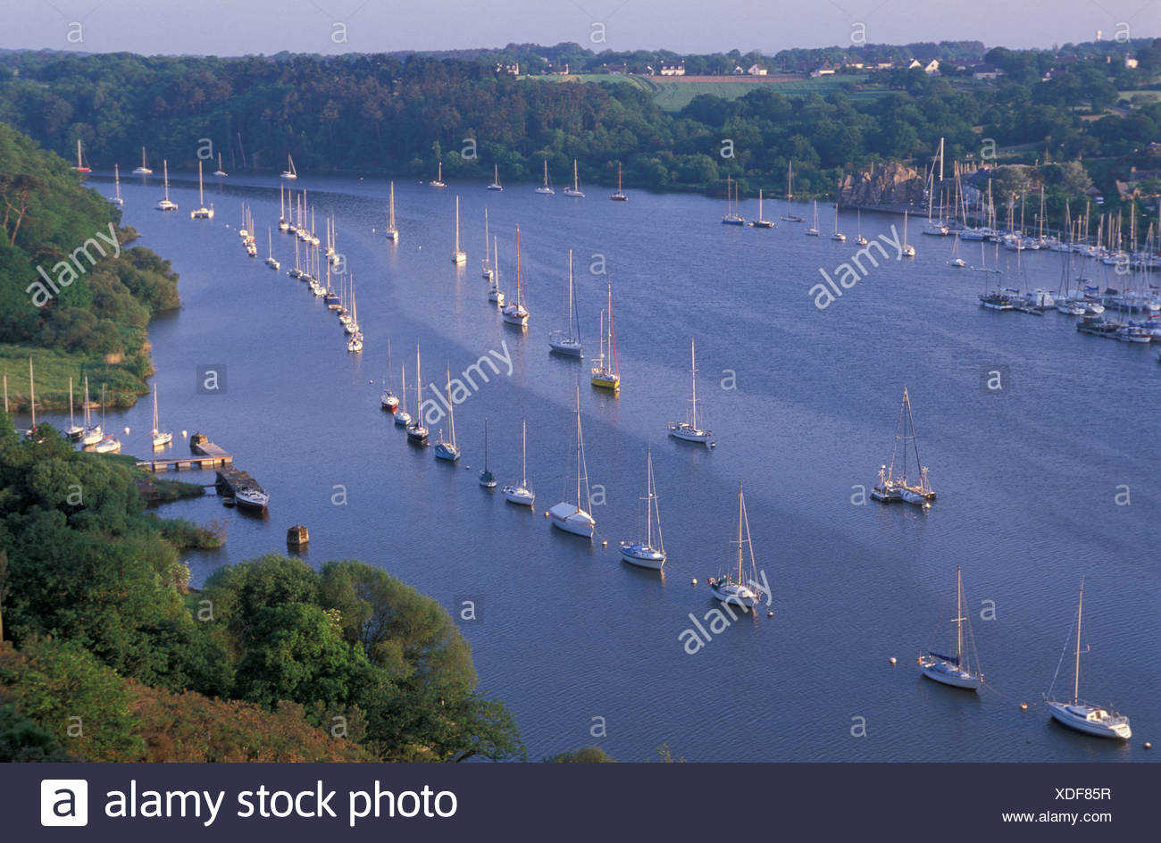 River, boats, Brittany, France, Europe, anchored - Stock Image