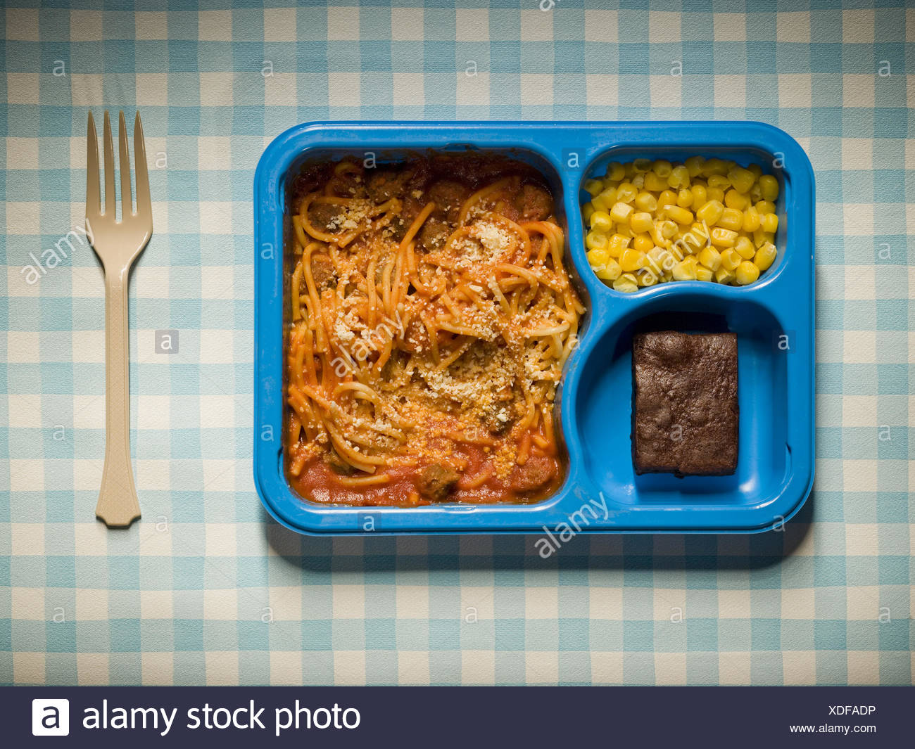TV Dinner with plastic fork - Stock Image