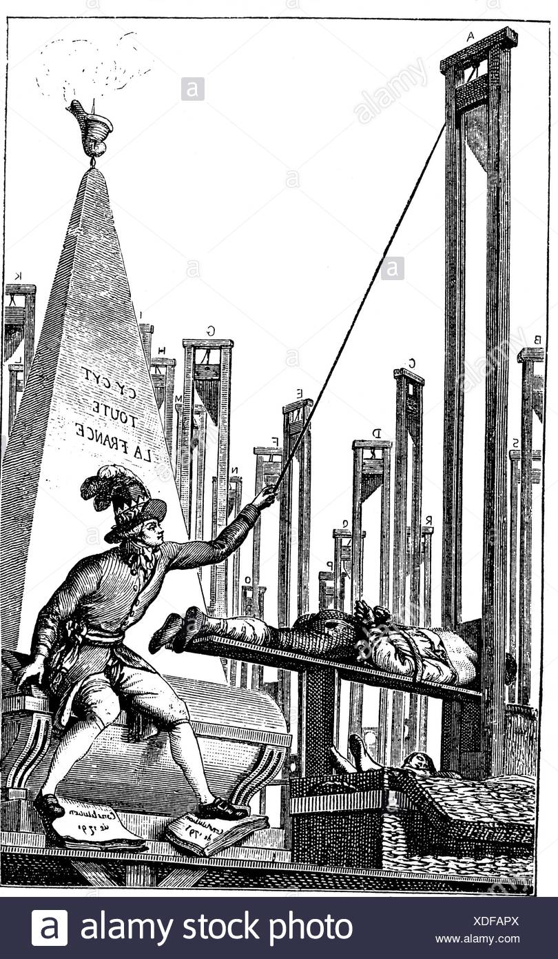 Robespierre, Maximilien de, 6.5.1758 - 28.7.1794, French politician, cartoon, Robespierre is executing the executor, handbill, reprint, facsimilie, late 18th century, Additional-Rights-Clearances-NA - Stock Image