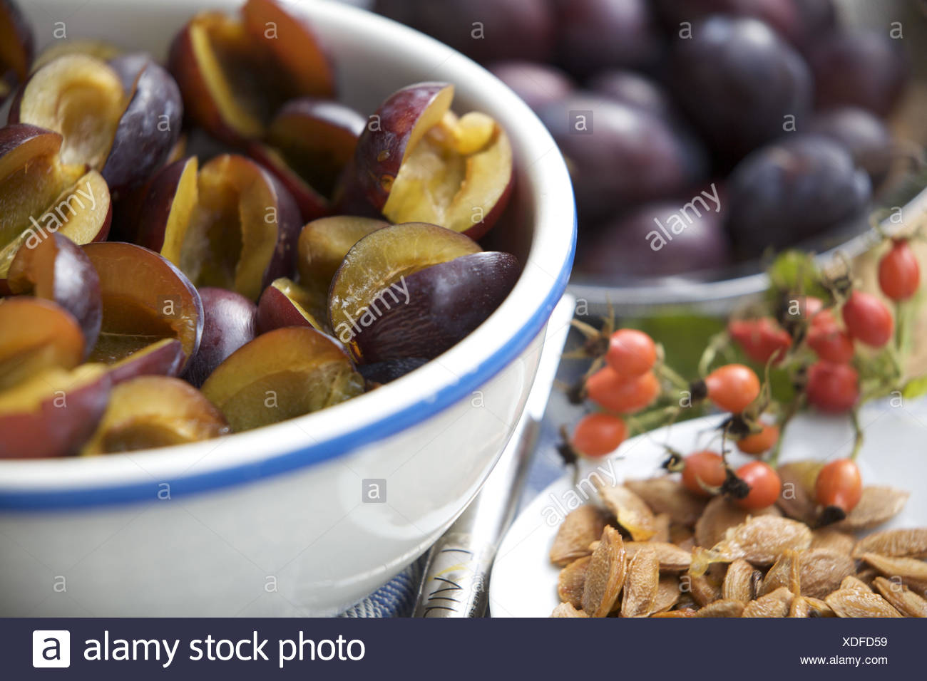 Plums core, - Stock Image