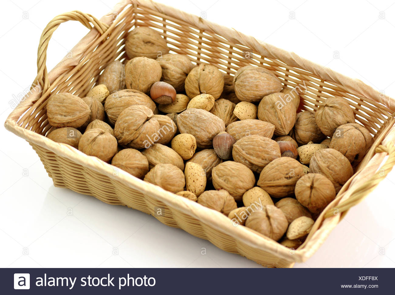 Mixed nuts in a basket - Stock Image