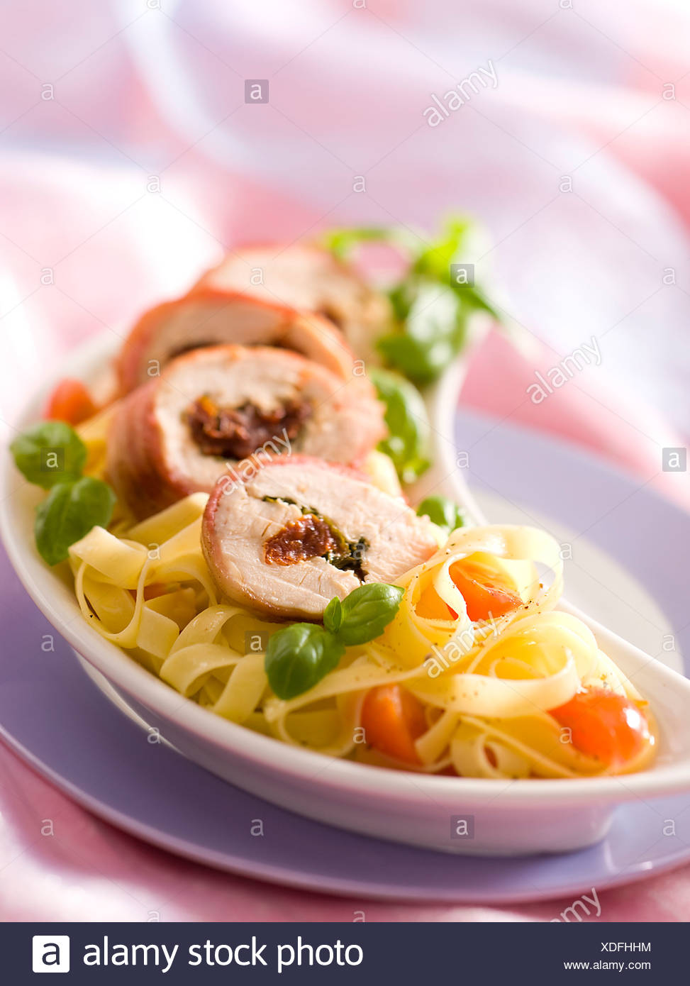 Chicken Fillets with Basil - Stock Image