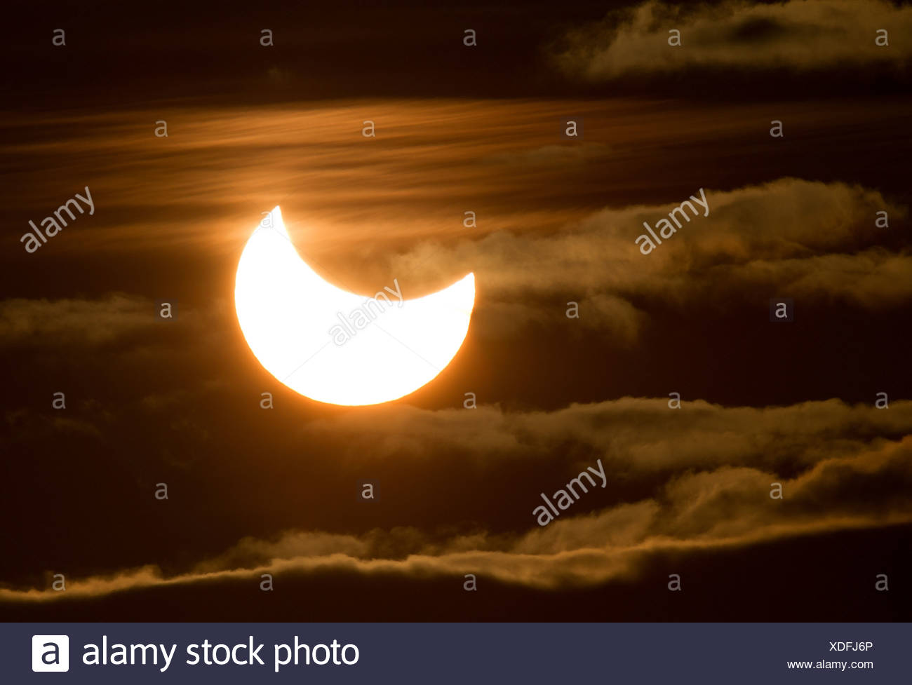 partial eclipse of the midnight sun, Norway, Troms - Stock Image