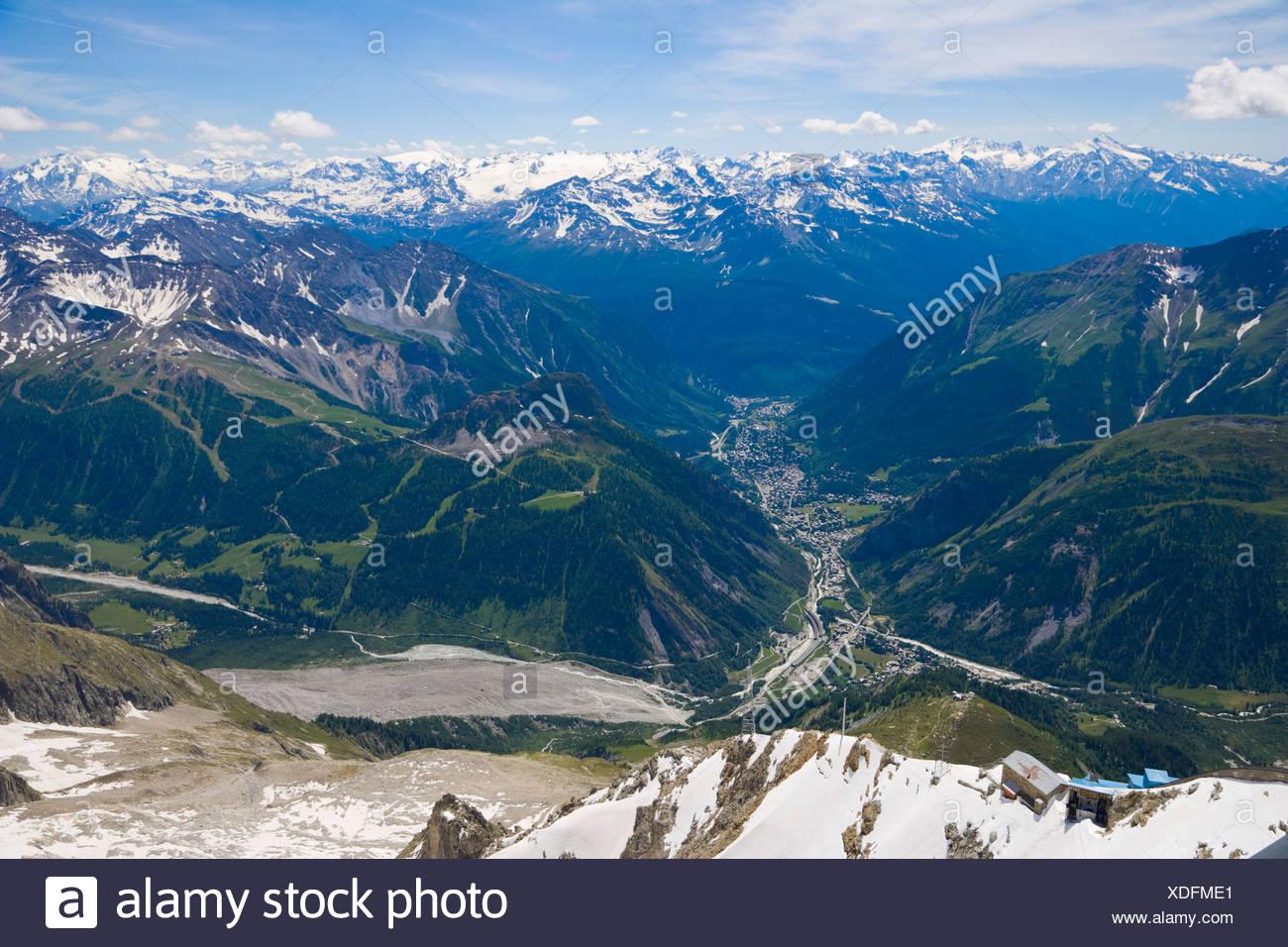 Aosta Valley, Valle d'Aosta, Val Ferret, Val Veny, Brenva Glacier from Rifugio Torino, Funivie Monte Bianco, Mont Blanc Funicul - Stock Image