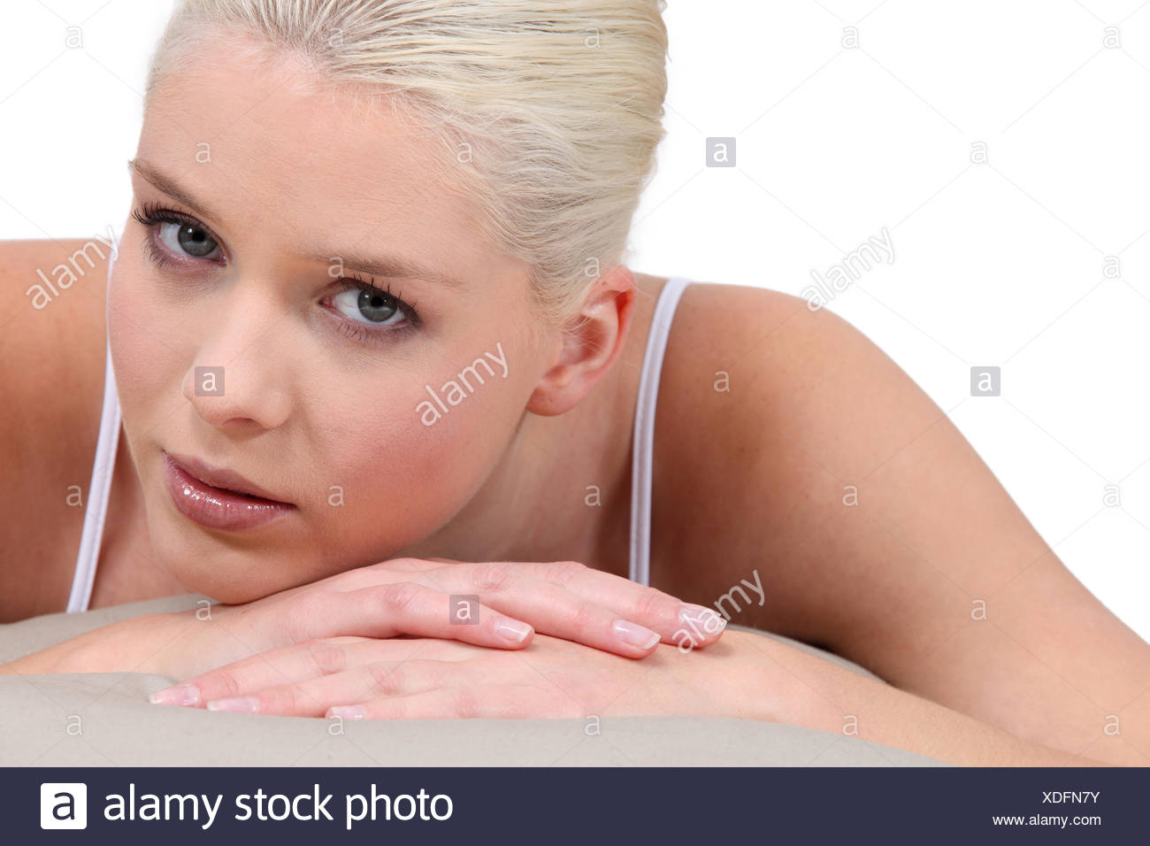 Portrait of a woman with bleached hair Stock Photo