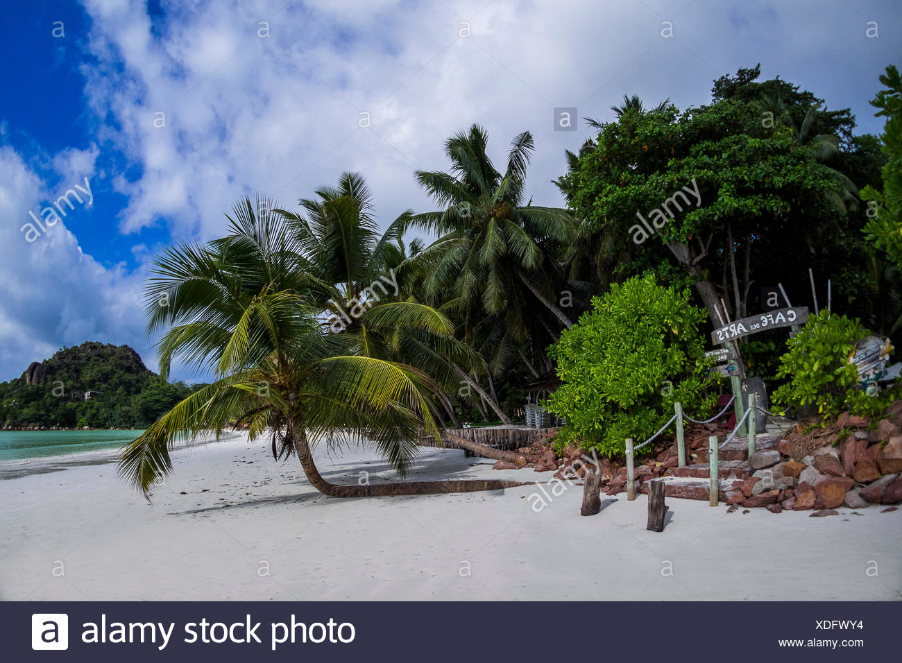 praslin in the seychelles at anse volbert / cote d'or beach Stock Photo