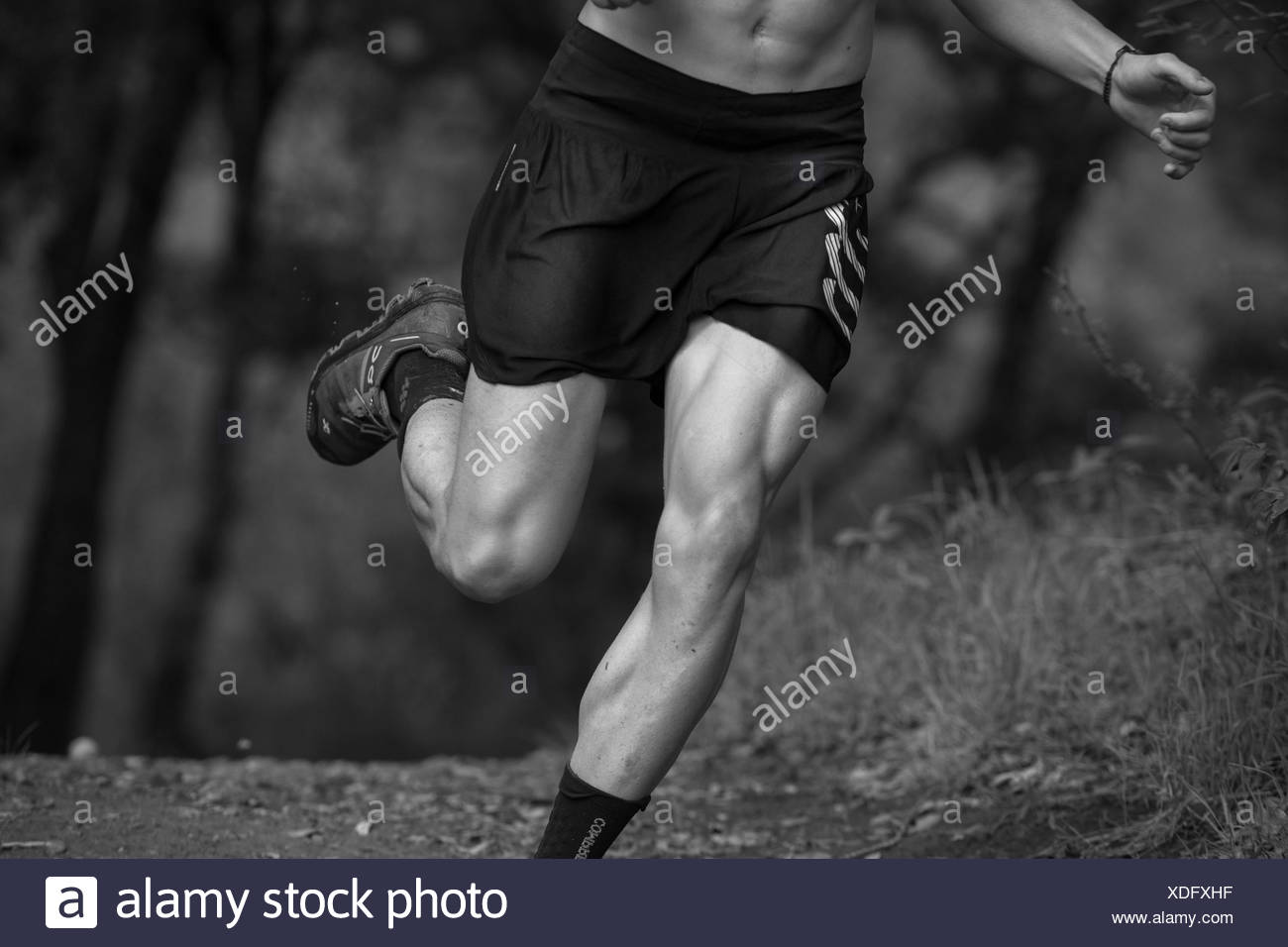 Low section of muscular man trail running in Rancho Santa Elena, Hidalgo, Mexico - Stock Image