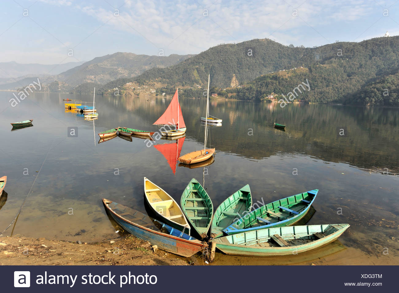 Rowing boats, view of the Phewa Lake, Pokhara, Nepal, Asia - Stock Image