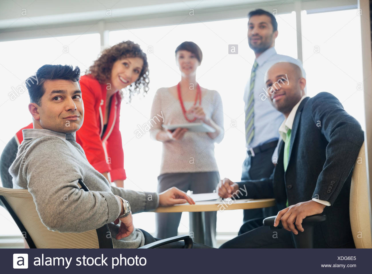 Business people looking away during meeting at table in office Stock Photo