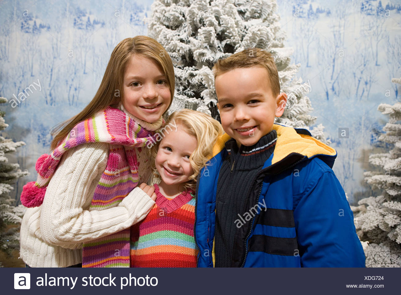 Kids in a winter scene - Stock Image