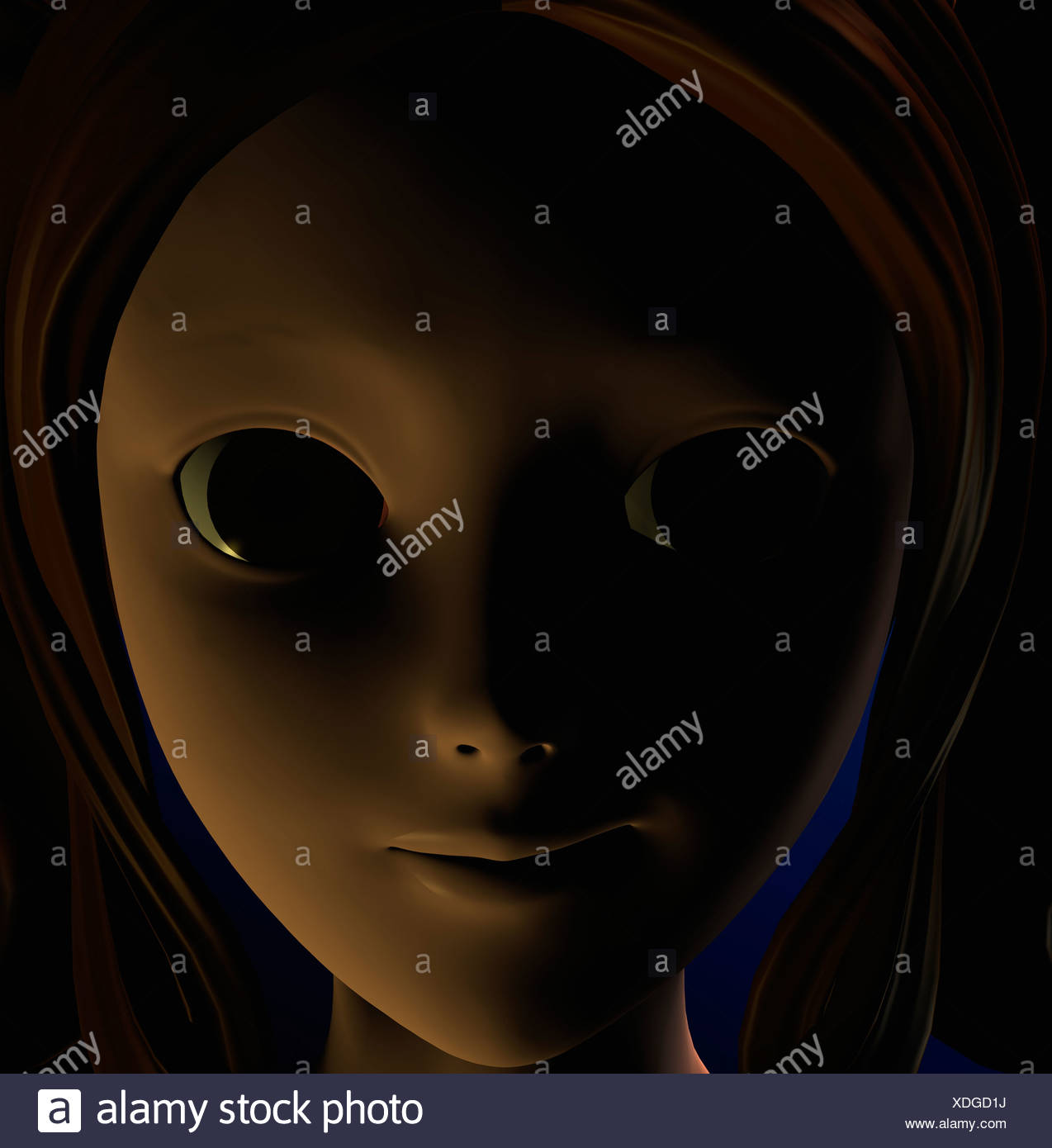 Computer Illustration Of Young Woman Looking Into Camera - Stock Image