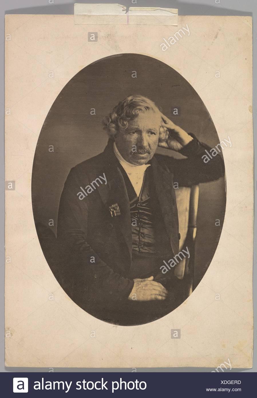 Louis-Jacques-Mandé Daguerre. Artist: John Jabez Edwin Mayall (British, Oldham, Lancashire 1813-1901 West Sussex); Person in Photograph: - Stock Image